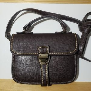 Deena & Ozzy brown faux pebble leather crossbody